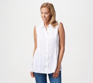 Susan Graver Textured Woven Button Front Sleeveless Shirt