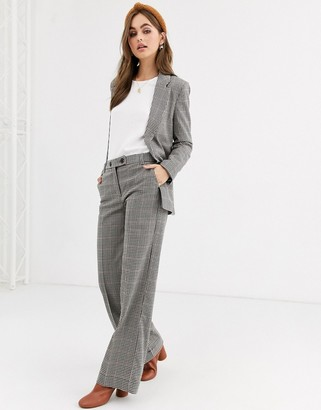 Pimkie wide leg button front check trouser co-ord in multi