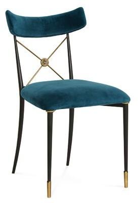 Jonathan Adler TV Rider Velvet Upholstered Cross Back Side Chair Upholstery Color: Peacock