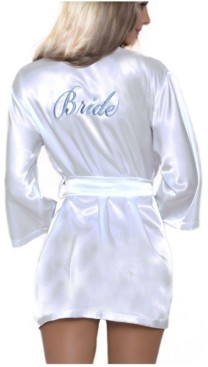 iCollection Women's Lux Embroidered Bridal Satin Robe