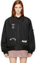 Perks And Mini Ssense Exclusive Black Hard Synth Embroidered Ma-1 Bomber Jacket