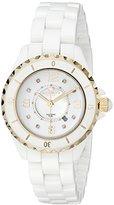 Akribos XXIV Women's AK485WTG-N Gold-Tone Watch with White Ceramic Bracelet