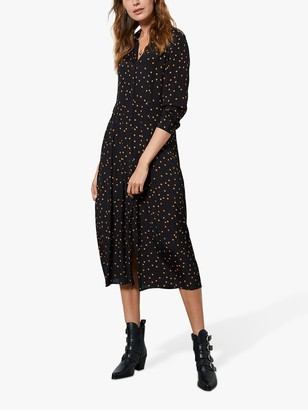 Mint Velvet Star Print Midi Shirt Dress, Black/Multi