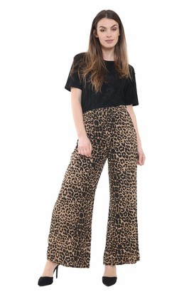 WearAll Ladies Palazzo Wide Leg Flared Elasticated Stretch Plus Size Plain Trousers Black 16/18