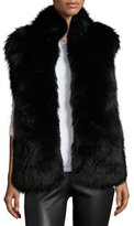 Diane von Furstenberg Fox & Rabbit Fur Vest, Solid Black