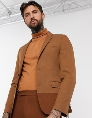 ASOS DESIGN skinny suit jacket in camel