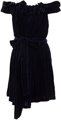 Stella McCartney Belted Ruffle-trimmed Pleated Velvet Mini Dress