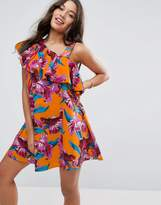 Asos One Shoulder Ruffle Sundress In Bright Tropical Print
