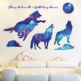Wall sticker MiniWall MiniWall Wall Paintings Sticker Sofa Background Wall Paper Decorations Personality Creative Animal Magic Sky Wolf Wallpaper,121*79Cm