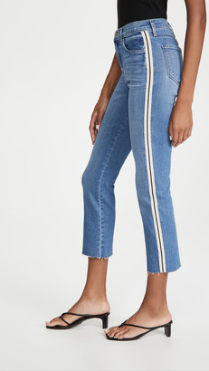 L'Agence Sada Side Stripe Crop Slim Jeans