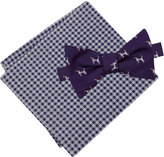 Tommy Hilfiger Men's Dog Print To-Tie Bow Tie & Gingham Pocket Square Set