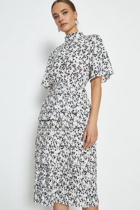 Coast Printed High Neck Tiered Dress