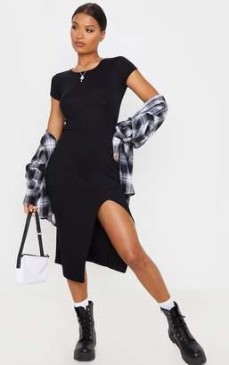PrettyLittleThing Black Crew Neck Short Sleeve Split Midi Dress