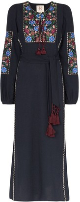 Figue Joni floral-embroidered maxi dress
