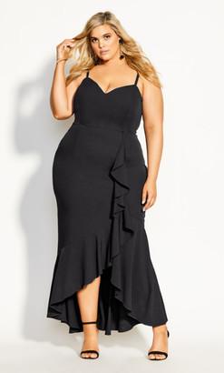 City Chic Ruffle Delight Maxi Dress - black