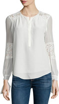 Rebecca Taylor Sarah Silk Lace-Panel Top, Chalk