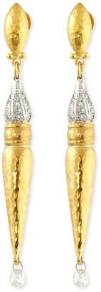 Gurhan Sultan Sleek 24K Gold and Diamond Earrings