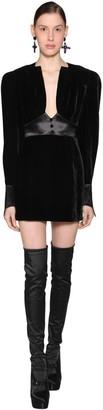 Olivier Theyskens Empire Waist Viscose Velvet Mini Dress