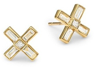 Maria Canale Flapper Deco X 18K Yellow Gold & Diamond Stud Earrings
