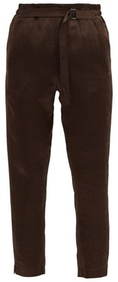 Ann Demeulemeester High-rise Crinkled-satin Cropped Trousers - Brown
