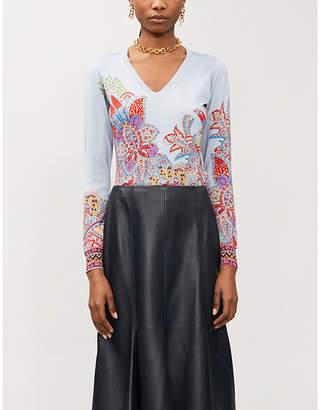 Etro V-neck printed silk-blend jumper