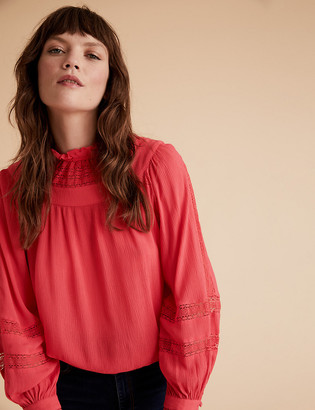 Marks and Spencer Lace Insert High Neck Long Sleeve Blouse