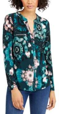 INC International Concepts Inc Petite Printed Zip-Pocket Top, Created for Macy's