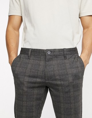 ONLY & SONS slim tapered fit check trousers in grey