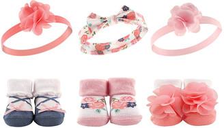 Hudson Baby Girls' Headbands Coral - Coral Floral Headband & Socks - Set of Six