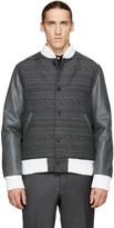 Thom Browne Grey Jacquard & Leather Bomber Jacket