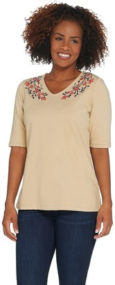 Denim & Co. Perfect Jersey Embroidered V-Neck Elbow- Sleeve Top