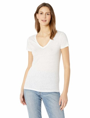 Majestic Filatures Women's Linen Elasthane Short Sleeve V Neck