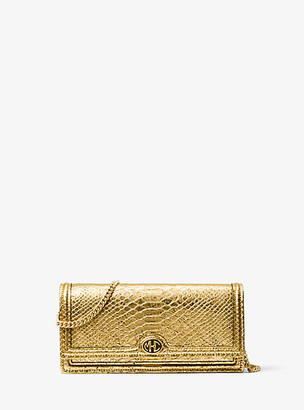 Michael Kors Monogramme Metallic Python Embossed Leather Clutch - Gold