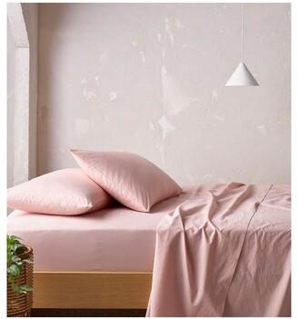Vue 250TC Organic Stonewashed Cotton Sheets in Pink Sand Pink Single