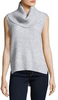 MICHAEL Michael Kors Sleeveless Cowl-Neck High-Low Sweater, Pearl Heather