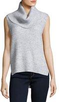 MICHAEL Michael Kors Sleeveless Cowl-Neck High-Low Sweater, Pearl Heather