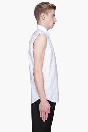 Raf Simons Red pinstriped Sleeveless logo Shirt