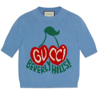 Gucci Wool crop top with cherry intarsia