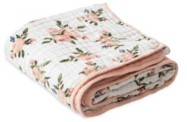 Little Unicorn Watercolor Roses Cotton Muslin Quilt