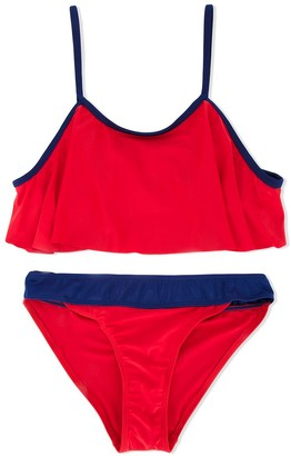 Duskii Girl Poppy frill crop bikini set