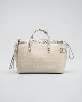 Nancy Gonzalez Cristie Medium Python & Linen Tote Bag