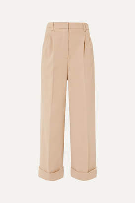Fendi Cropped Jersey Wide-leg Pants - Beige