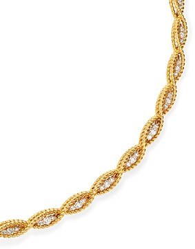 Roberto Coin 18K Yellow & White Gold New Barocco Braided Collar Necklace with Diamonds, 15