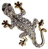 AJ Fashion Jewellery FORMENTERA Plated Crystal Lizard Brooch
