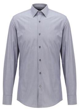 BOSS Slim-fit shirt in finely striped Italian cotton
