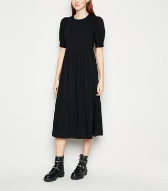 New Look Poplin Puff Sleeve Smock Midi Dress