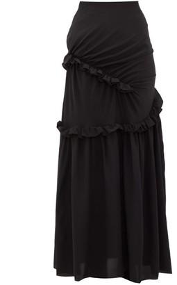 Preen by Thornton Bregazzi Pheodora Ruffle-trim Silk Crepe De Chine Skirt - Womens - Black