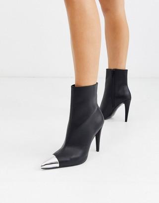 ASOS DESIGN Exeter metal toe cap dressy boots in black