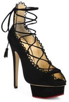 Charlotte Olympia Gladys Suede Lace-Up Platform Pumps
