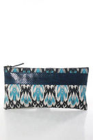Beirn Turquoise Blue Canvas Snakeskin Ikat Zip Clutch Handbag New